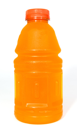 A orange energy drink filled with sugar.